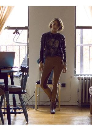 tawny Zara pants - black H&M jacket - dark brown H&M shoes
