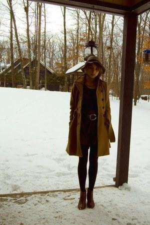 tawny H&M shoes - maroon modcloth dress - camel H&M coat - heather gray H&M hat