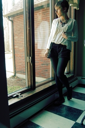Old Navy sweater - Forever21 top - Old Navy shorts - Aldo shoes - Brighton neckl