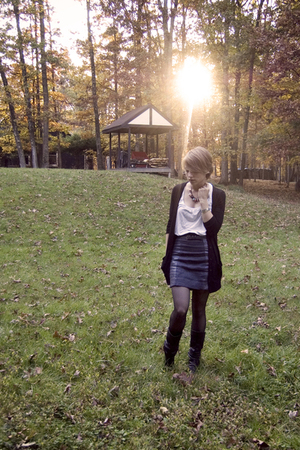 skirt - black boots - black tights - black cardigan - gray belt - white top