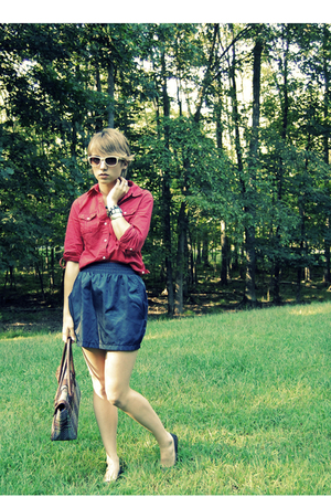 tulip American Apparel skirt - ballet flats Aldo shoes - red Old Navy shirt