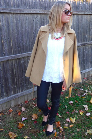 white eyelet Loft blouse - bronze Old Navy coat