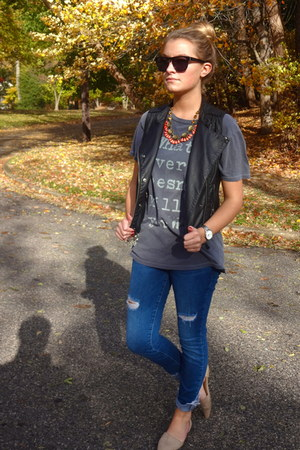 JCrew necklace - distressed Guess jeans - mjm flats - leather vintage vest