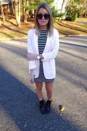 bubble gum Forever 21 blazer - Zara boots - striped Forever 21 dress