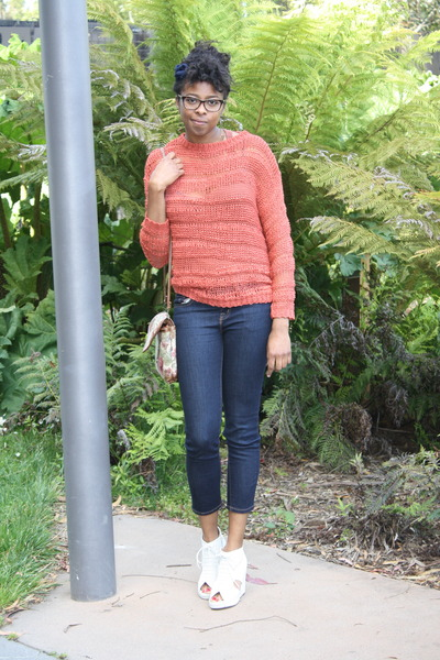 burnt orange Staring at Stars sweater - off white mary roks Jeffrey Campbell wed