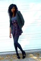 green Silence & Noise blazer - purple pins and needles dress - black 704b shoes