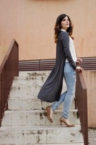 gray long cardigan Vero Moda cardigan - light blue pull&bear jeans