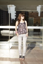 heather gray flower flowy H&M top - peach Mango bag