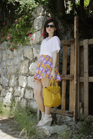 carrot orange a-line skirt Zara skirt - mustard Charles & Keith bag
