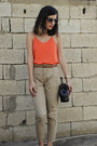 Black-m2-bag-gold-springfield-sandals-camel-high-waisted-zara-pants