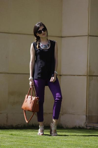black Bershka top - purple skinny jeans LTB jeans - burnt orange Noah bag