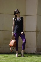 black Bershka top - purple skinny jeans LTB jeans - burnt orange Noah bag