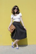 black midi skirt H&M skirt - tawny Carolina Herrera bag