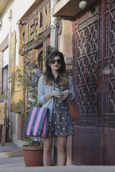 black print dress H&M dress - sky blue chambray shirt Zara shirt