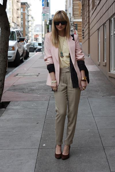 pink vintage blazer - beige Zara pants