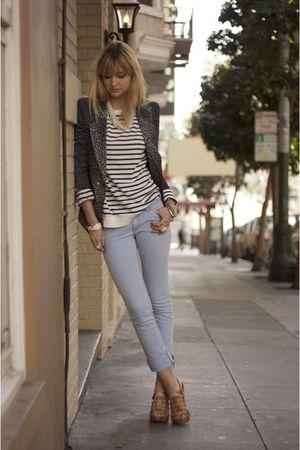 blue H&M jeans - beige Michael Kors via Tobi shoes - blue modcloth blazer