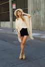 Black-forever-21-shorts-beige-zara-dress-beige-vintage-via-chic-swap-hat
