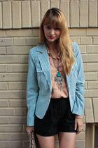 blue vintage blazer - black Urban Outfitters shorts - beige vintage blouse