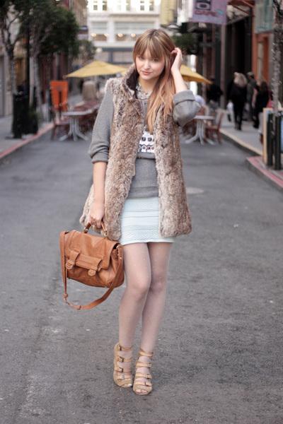 light blue American Apparel skirt - heather gray Zara sweater - peach H&M tights