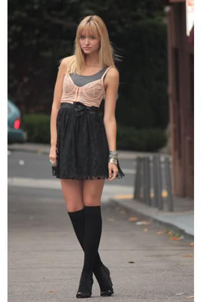 forever 21 dress - silence and noise bra - H&M socks - Aldo shoes