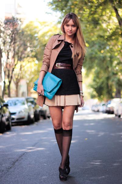 black modcloth dress - black rag & bone shoes - beige modcloth coat