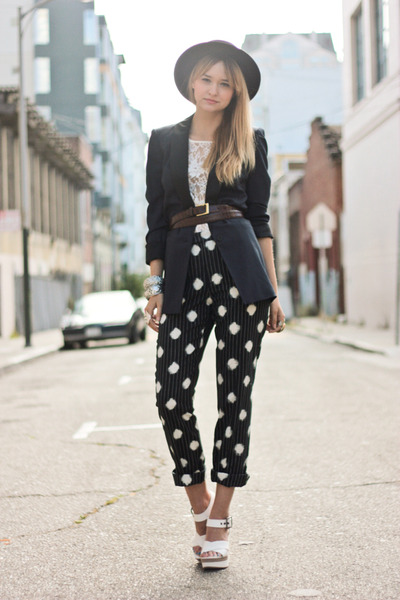 blue bird by juicy couture blazer - white Kenzo shoes - black vintage hat