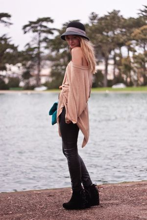 beige H&M sweater - black H&M pants