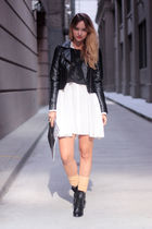 white storets dress - black H&M jacket - black vintage top - black See by Chloe
