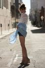 Blue-urban-outfitters-shorts-white-nastgygal-top-beige-surface-to-air-shoes