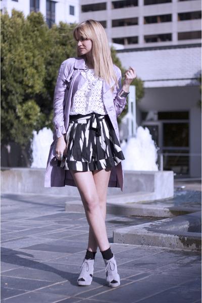 purple robert rodriguez coat - white vintage sweater