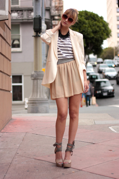 beige American Apparelarel skirt - white vintage blazer - white Zara shirt