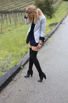 gray H&M blazer - black Volitile boots - black American Apparel dress