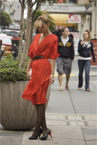 red vintage dress - black Urban Outfitters shoes - black Nordstrom tights