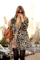 peach Topshop dress - beige H&M coat - tawny Zara bag - brown YSL sunglasses