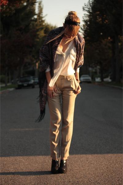 beige Zara pants - white Zara blouse - blue vintage scarf