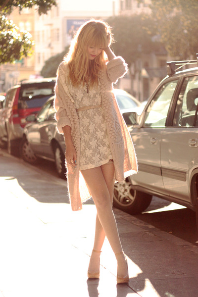 white dress - beige shoes - pink sweater