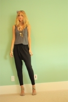black harem American Apparel pants - beige Urban Outfitters shoes - gray shirt