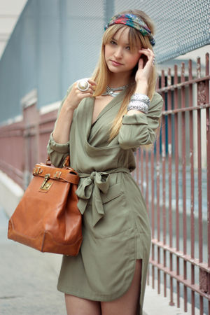 green H&amp;M dress - green vintage scarf - brown storets bag