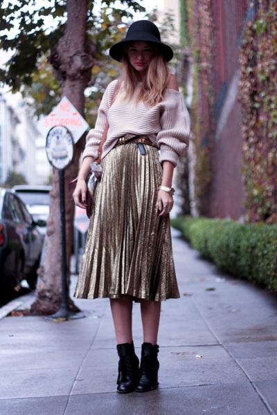 gold YSL skirt