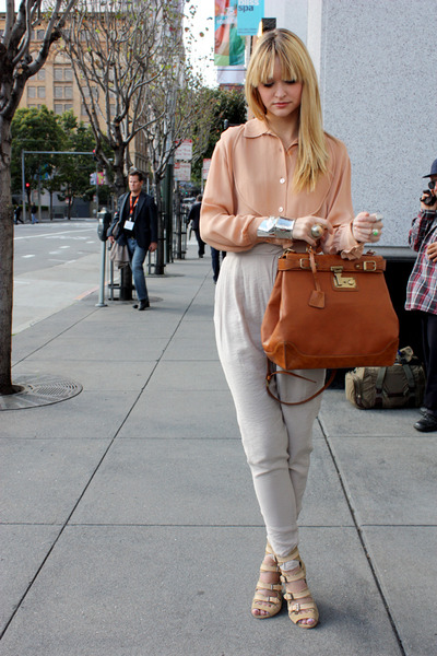 beige vintage blouse - beige H&amp;M pants - beige surface to air shoes
