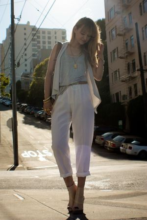 white vintage pants - beige Jeffrey Campbell via NeedSupply shoes - purple Zara