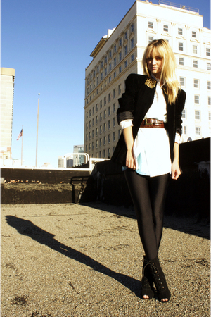 black vintage jacket - black American Apparel leggings - white vintage shirt