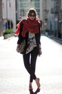 Nude-forever-21-shoes-navy-bird-blazer-red-qi-cashmere-scarf-black-forever