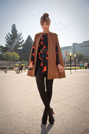 black Jeffrey Campbell shoes - blue via Moxsie dress - beige Zara coat