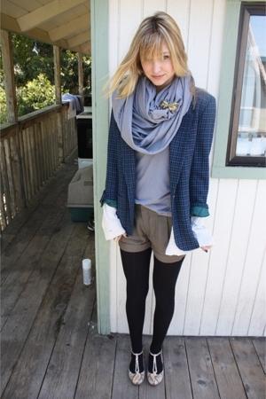 thrifted blazer - American Apparel shirt - American Apparel scarf - Zara shorts
