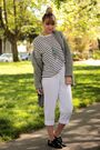 white thrifted pants - gray H&M Mens sweater - white H&M Mens sweater - black Am