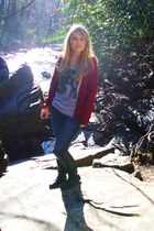 knee high modcloth boots - Express jeans - red American Eagle sweater - H&M brac
