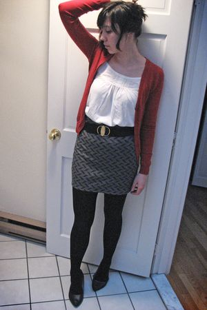 red Uniqlo cardigan - gray Urban Outfitters skirt - white hollister top - black