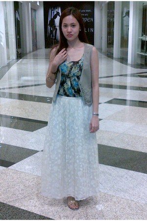 cream lace Ombre Vintage skirt - dark khaki khaki surplus shop vest