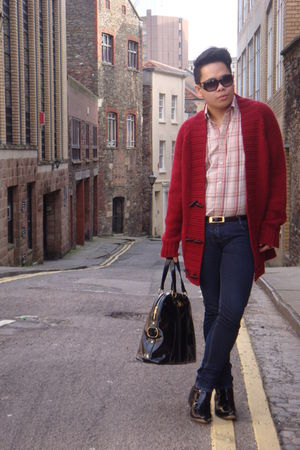red Topman cardigan - orange John Rocha shirt - blue Primark jeans - black Gucci